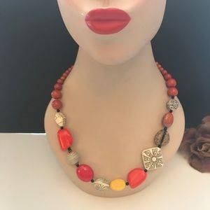 Jewelry - VTG Carved Beaded Necklace Orange Red Yellow